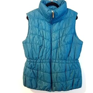 16 Coldwater Creek Teal Blue Quilted Puffer Vest